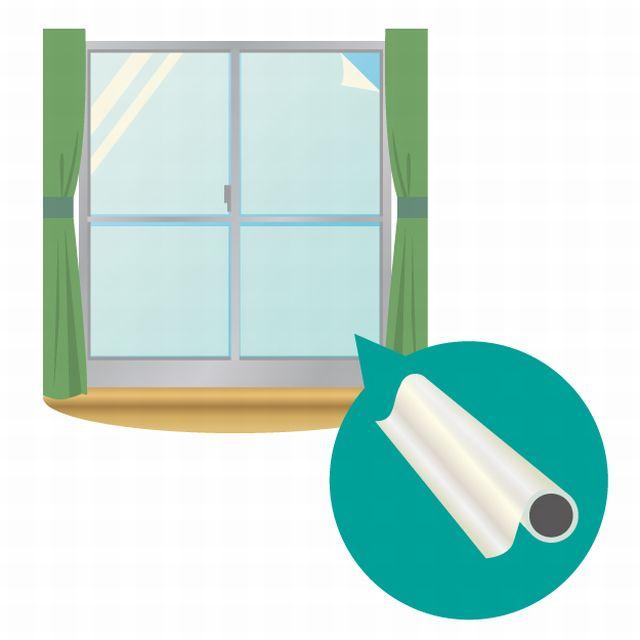 飛散防止フィルムを貼った窓ガラス。